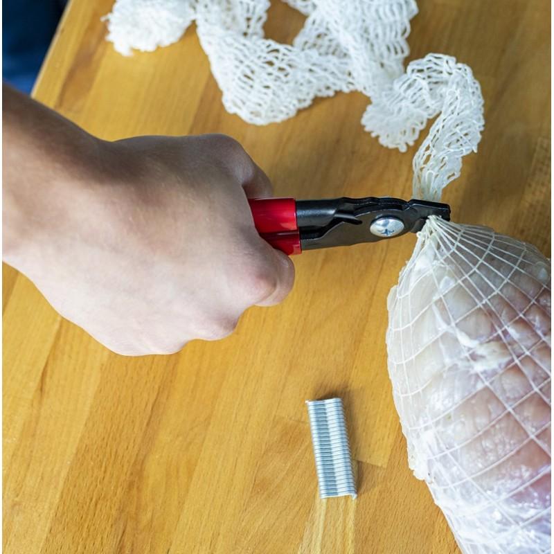 Sūdytu mėsos gaminių aprišimo replės + 60 aprišimo žiedų