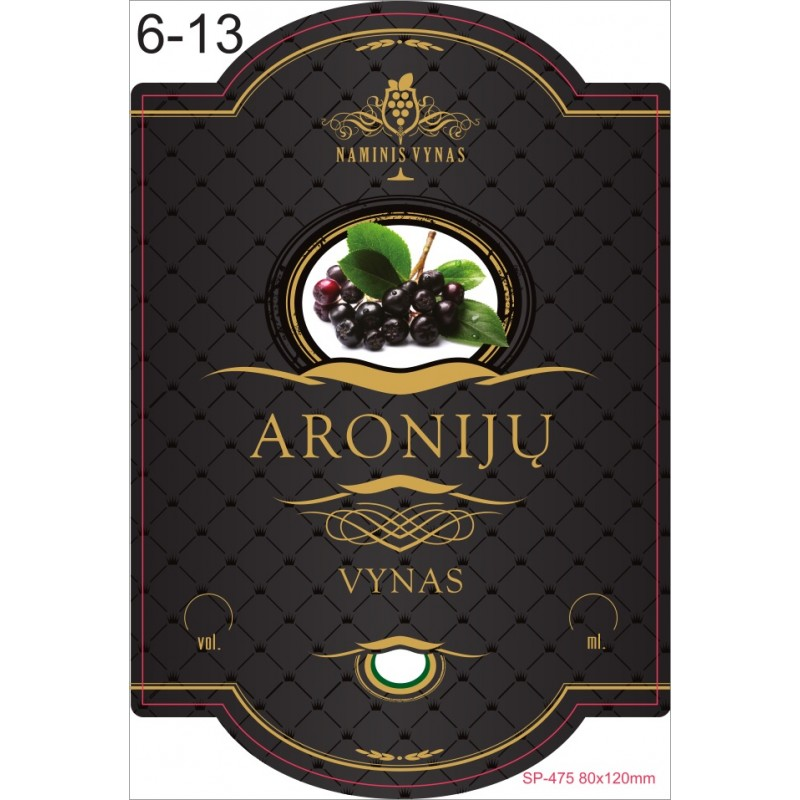 Etiketė JUODA Aronijų vynas