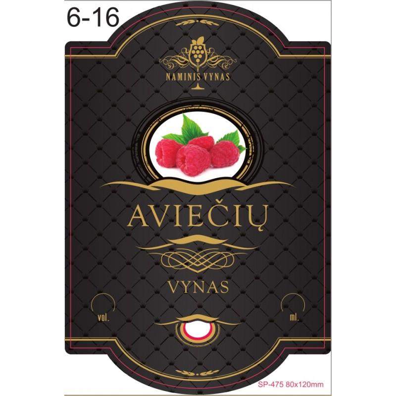 Etiketė JUODA Aviečių vynas