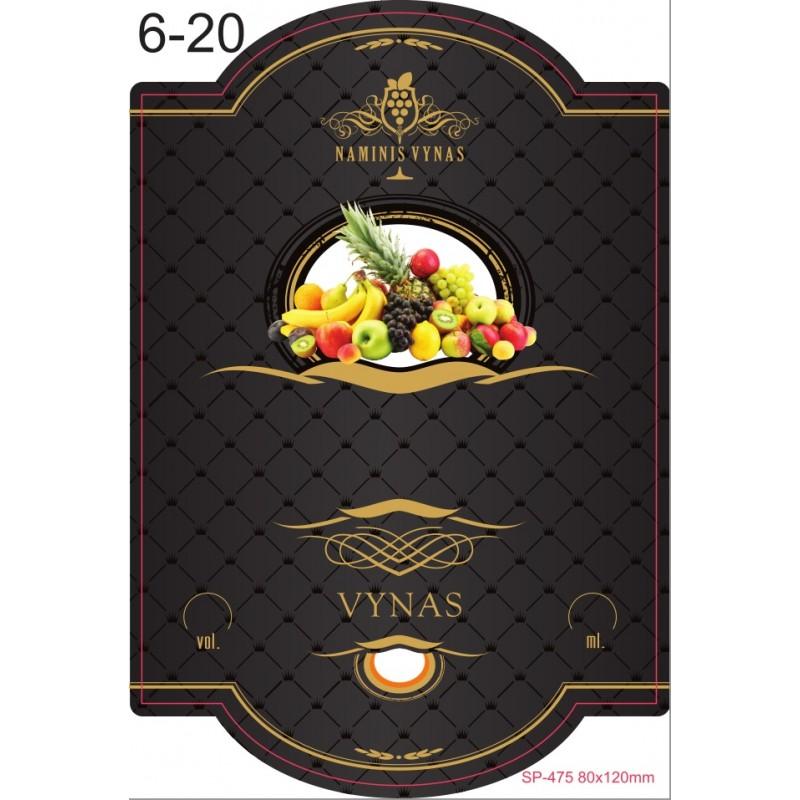 Etiketė JUODA Įvairių vaisių vynas