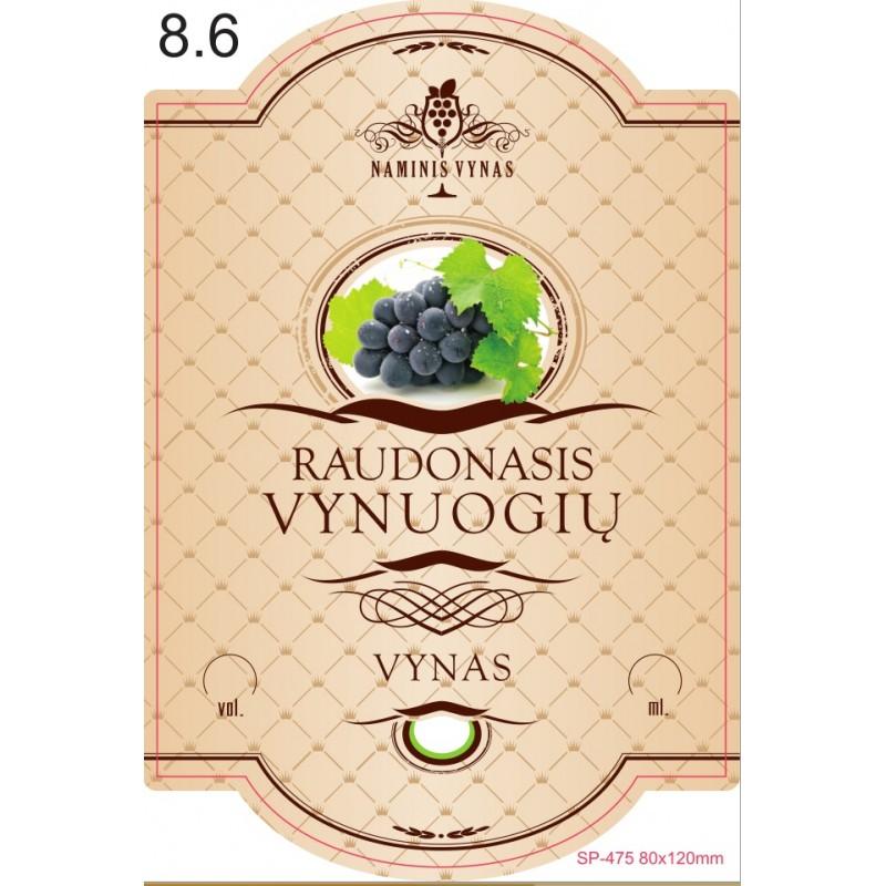 Etiketė KREMINĖ Raudonasis vynuogių vynas