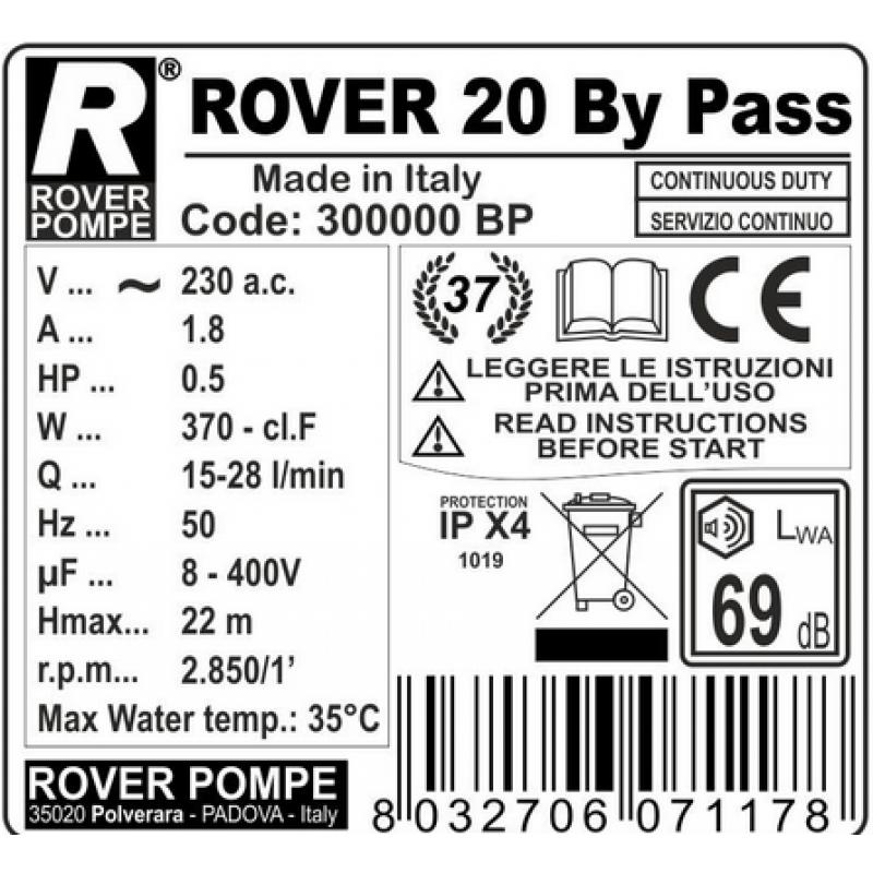 Elektrinis siurblys ROVER 20 By-Pass